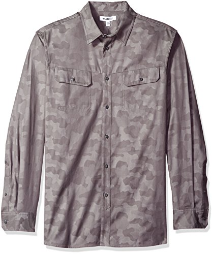 William Rast Baker Button Down - Playera para Hombre, Camuflaje Gris, Medium