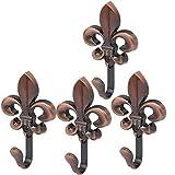 uxcell Coat Handbag Alloy Flower Shape Wall Hanger Single Hook Copper Tone 4pcs