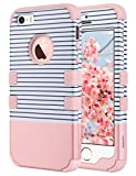 iPhone SE Case,iPhone 5S Case, ULAK Anti Slip iPhone 5 Case Dust Scratch Shock Resistance Protective Cover for Apple iPhone SE 5S 5 Hybrid Soft Silicone+Hard PC Case(Minimal Rose Gold Stripes)