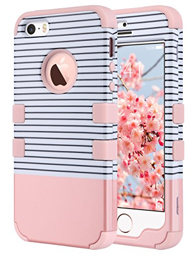 ULAK iPhone SE Case, iPhone 5S Case, Anti Slip Shock Resistance Protective Cover with Hybrid High Soft Silicone + Hard PC Case for Apple iPhone 5/5S/SE (Minimal Rose Gold Stripes)