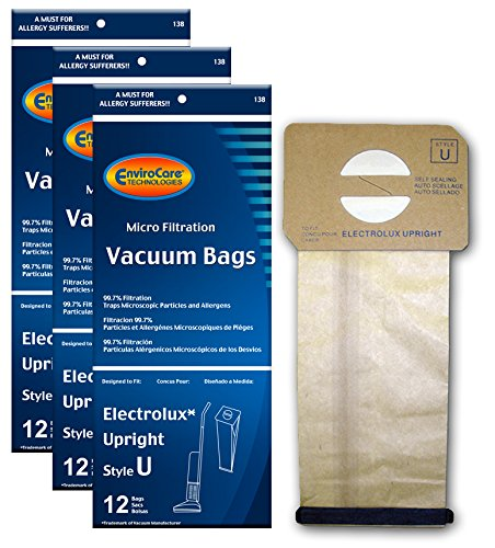 EnviroCare Replacement Vacuum Bags for Electrolux Upright Style U Aerus, Epic, ProTeam Prolux, Discovery, Genesis, Lux Vacuum Cleaners, 2500, 3500, 4000, 6000 36 Pack