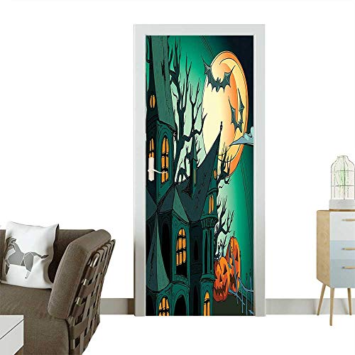 Decorative Door Decal Haunted Medieval House Theme Cartoon Bats in Twilight Gothic Fiction Spooky Art Orange Stick The Picture on The doorW36 x H79 INCH
