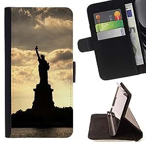 Momo Phone Case / Flip Funda de Cuero Case Cover - Estatua de la Libertad Silueta;;;;;;;; - Samsung Galaxy S6 Active G890A