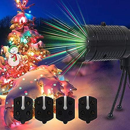 CAIDUD Lámpara de Paisaje Proyector de Navidad Luces RGBW 4 Patrón ...