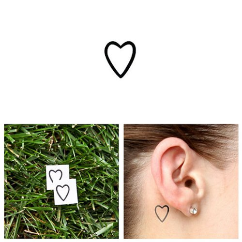 Tattify Small Heart Outline Temporary Tattoo  A little love Set of 2  Other Styles Available  Fashionable Temporary Tattoos  Long Lasting and Waterproof
