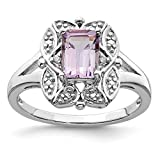 925 Sterling Silver Diamond Pink Quartz Band Ring Gemstone Fine Jewelry For Women Gift Set