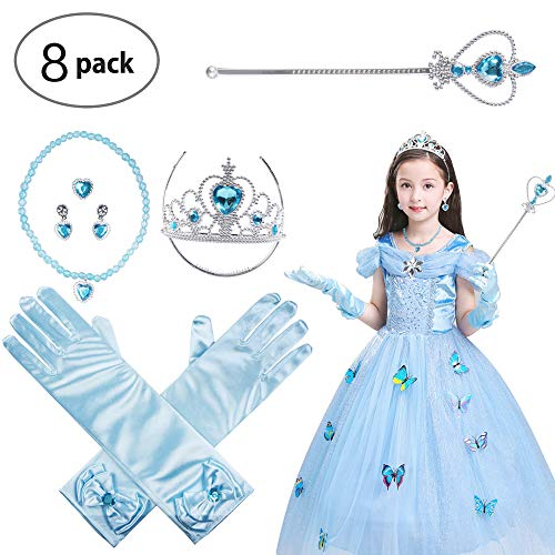 (Princess Dress Up Accessories Gift Set Crown Scepter Necklace Earrings Gloves, Blue, 8 Pieces )