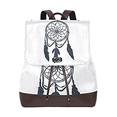 imobaby Women's Dream Catcher Feather White Pu Leather Backpack Purse Ladies Casual Shoulder Bag School Bag for Girls,Ty29