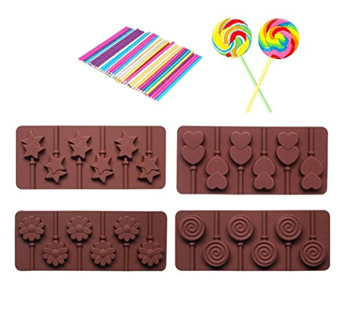 4pcs Silicone chocolate Lollipop Mold + 30pcs Colorful Lollipop Sticks,Candy Making Mold,Chocolate Mold, Ice Soap Molds (Candy Lollipop Molds)