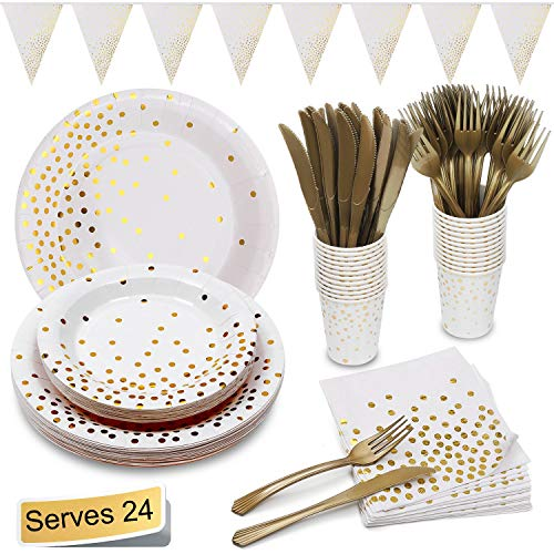 White and Gold Party Supplies Golden Dot Decoration Party Set Includes 7