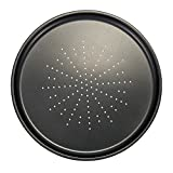 Pizza Pan, Non Stick Vented Pizza Pan Oven Baking Tray With Holes Carbon Steel Black, Pizza Pan Baking Tray 12 Inch