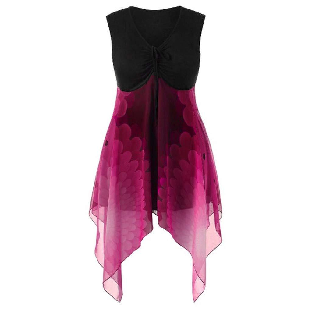 Hotkey Womens Tankini Swimsuits Women Irregular Hem Chiffon Patchwork Sleeveless V Neck Casual T-Shirt Blouse