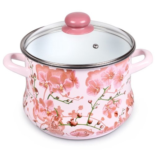 Enamel Stock Pot Sakura Enamel Cooking Pot Enameled Pot with Glass Lid 5 L Pink