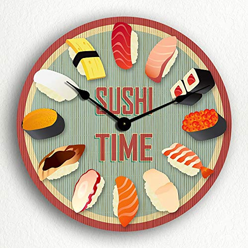 Susie85Electra Sushi Time Wood Wall Clock Modern Decorative Non Ticking for Living Room Kids Bedrooms 12 Inch -