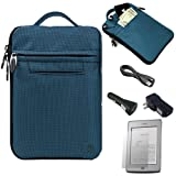 Blue Mighty Nylon Jacket Slim Compact Protective Sleeve Bag Case with accessories compartment for Amazon Kindle Touch ( Wi-Fi 6'' E-Ink Display ) + a USB Car Charger + a USB Home Charger + a USB Data/Sync Cable