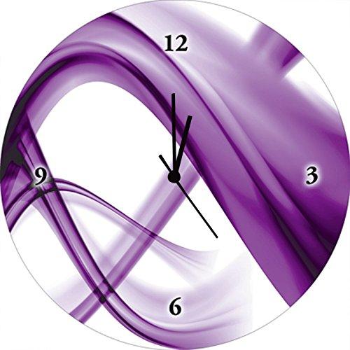 Artland Qualitätsuhren I Funk Wanduhr Designer Uhr Glas Funkuhr Größe: 35 Ø Gegenstandslos Lila J4IK