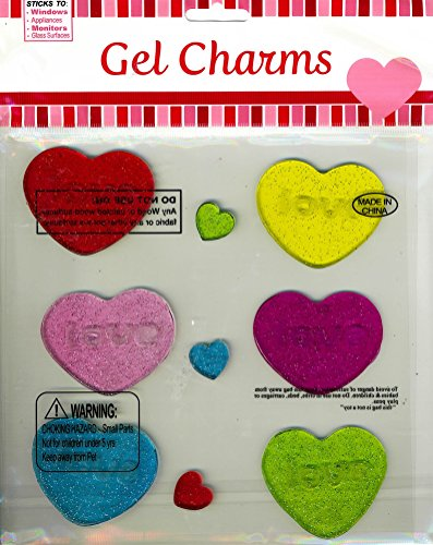 Nantucket Home Love Conversation Hearts Glitter Infused Valentine's Day Gel Window Clings, Set of 9