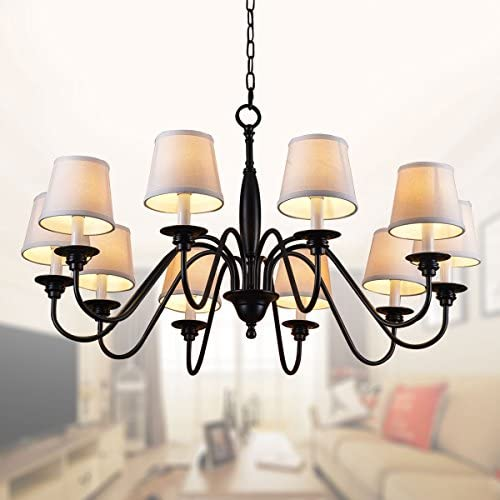 10-Light Black Wrought Iron Chandelier with Cloth Shades E-7057-10