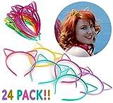 Cornucopia Brands Cat Ear Headbands (24 Pcs 6 Colors) Hair Accessory Party Favor Dress up Costume