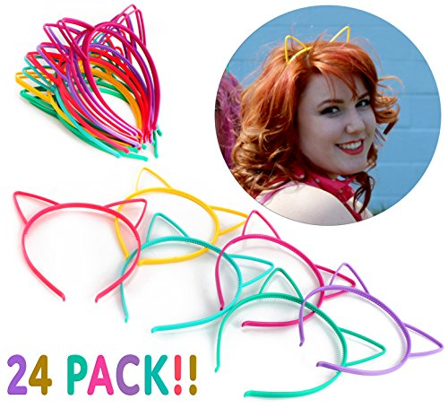 Cornucopia Brands Cat Ear Headbands (24 Pcs 6 Colors) Hair Accessory Party Favor Dress up Costume ()