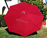 BELLRINO DECOR Replacement RED STRONG & THICK Umbrella Canopy for 10ft 8 Ribs Bright Red (Canopy Only)
