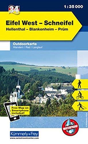 Deutschland Outdoorkarte 34 Eifel West, Schneifel 1 : 35.000: Hellenthal-Blankenheim-Prüm. Wanderwege, Radwanderwege, Nordic Walking (Kümmerly+Frey Outdoorkarten Deutschland)