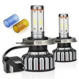JamieWIN H4 Led Headlight Bulbs 12000LM 100W with 4 Sides CSP Chips All in One 9003 High/Low Beam 3000K Yellow/6000K Cool White/8000K Blue Car Truck Motorcycle Lamp Replacement