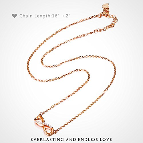F.ZENI Women Necklace Infinity Forever Love 925 Sterling Silver 18K Yellow Gold Rose Gold plated Pendant Delicate Choker for Women Girls with Gift Box 16''-18'' by F.ZENI (Image #3)