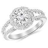 1.15 Cttw 14K White Gold Round Cut Pave Set Halo Style Floral Split Shank Diamond Engagement Ring with a 0.73 Carat J-K Color I2 Clarity Center