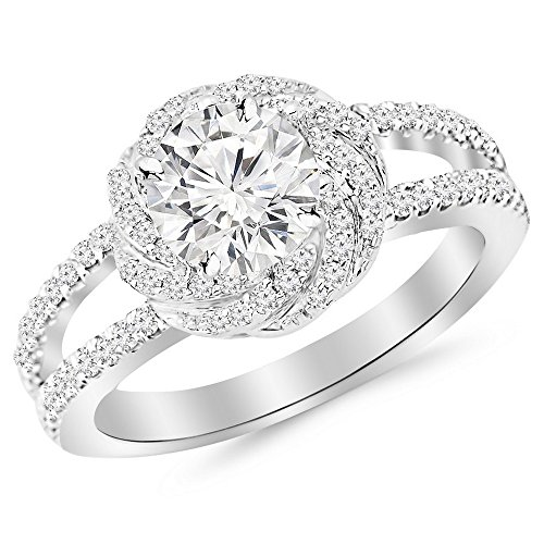 - 1.16 Carat t.w. 14K White Gold Round Pave Set Halo Style Floral Split Shank Diamond Engagement Ring H-I I2 Clarity Center Stones.