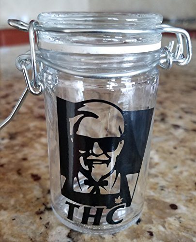 Colonel Sanders THC Airtight Stash Jar {BLACK} | Bud Jar 420 | Weed Spice and Herb - Colonel Glasses Sanders