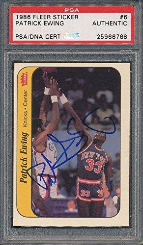 1986/87 Fleer Sticker #6 Patrick Ewing PSA/DNA Certified Certified Certified Autographed *6768