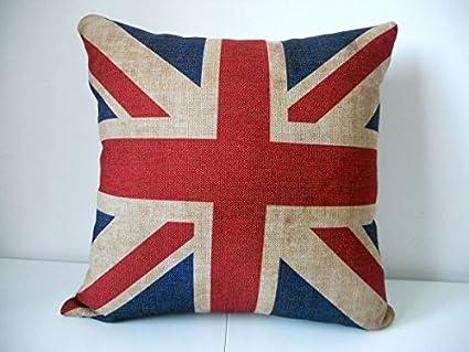 Fabriqué au Royaume-Uni artistique pays Bourdon en lin look Piped Housse de coussin