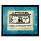 American Coin Treasures Hawaii Brown Seal Note in Acrylic Frame Novelty