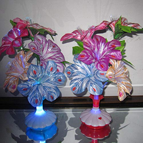 Aoile 1Pc LED Artificial Flower Vase Shape Optical Fiber Table Lamp Decoration Random Color