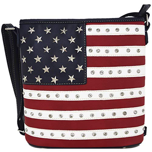 American Flag Stars and Stripes Crossbody Handbag Concealed Carry Purse Country Women Single Shoulder Bag
