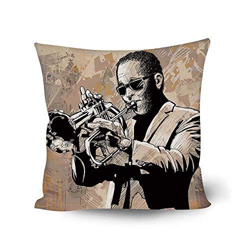 Jazz Music Comfortable Throw Pillow,Grunge Style Illustration of