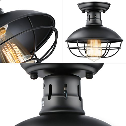 KingSo Industrial Metal Cage Ceiling Light, E26 Rustic Mini Semi Flush Mounted Pendant Lighting Dome/Bowl Shaped Lamp Fixture for Country Hallway Kitchen Garage Porch Bathroom by KINGSO (Image #3)