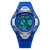 Boys Digital Sport Watch, Kids Outdoor Waterproof Electronic Analogue Watches LED Alarm Stopwatch Back Light Timer for Youth Childrens - Blue