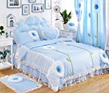 MeMoreCool Sweet Design Girls Princess 3 Pieces Bedding Set Elegant White Lace Ruffle Quilt Covers Set 100% Cotton Bedding Set Romantic Girly Bed Skirts Set Twin Size