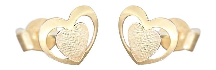 Hobra-Gold Kleine Herz Ohrstecker Gold 585 Kinder Ohrringe Herzen Stecker Gelbgold 14 Kt.
