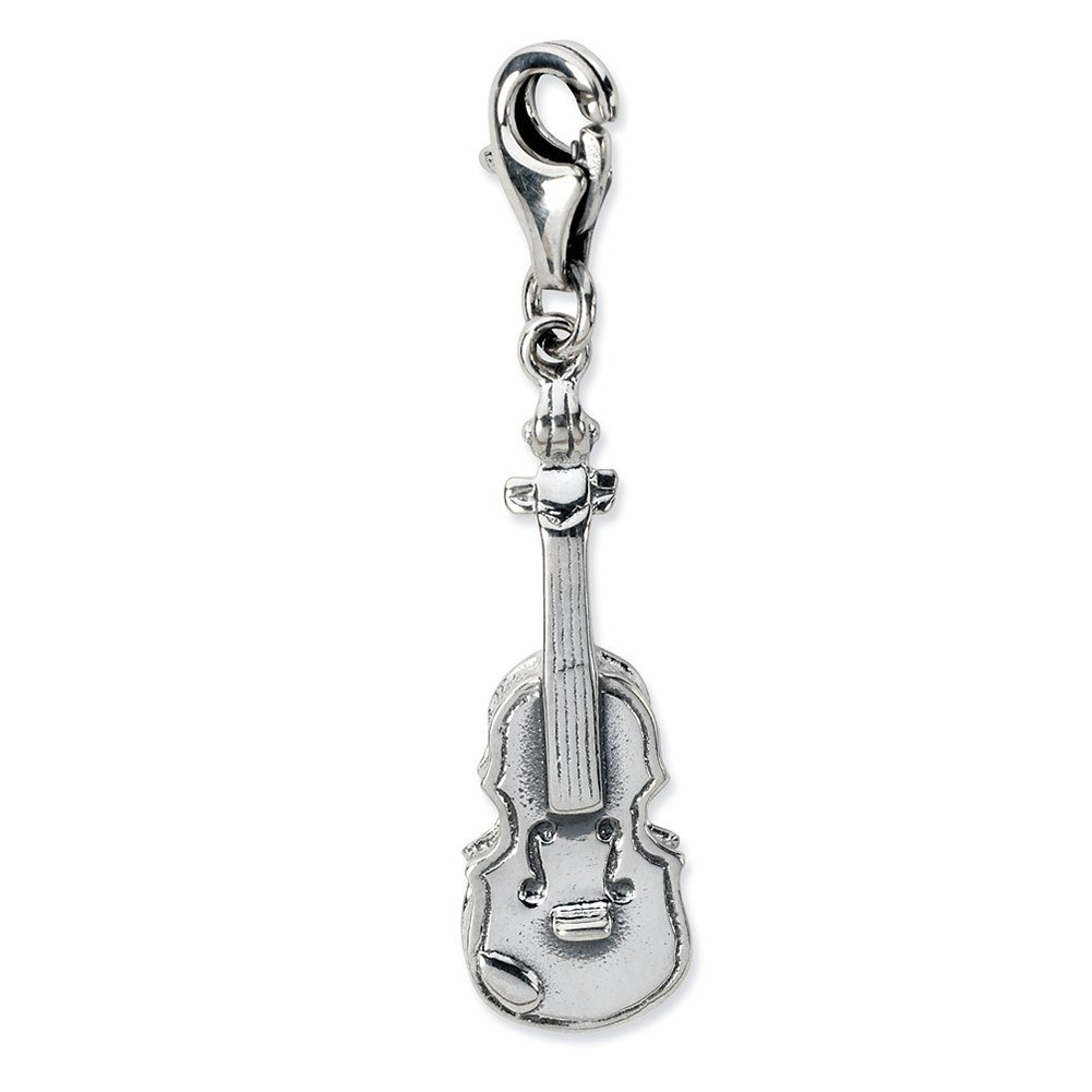 Lex /& Lu Sterling Silver 3-D Antiqued Violin w//Lobster Clasp Charm