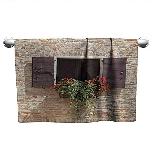 alisoso Tuscan,Bath Sheet Antique Looking Window on an Ancient Stone Wall with Flowers Pienza Tuscany Picture Pool Gym Towels Brown Ivory W 28