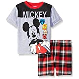 Disney Baby Boys' 2 Piece Mickey Screened Patches To Plaid Short Set, Grey, 24 Months