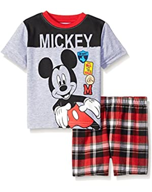 Little Baby Boys' 2 Piece Mickey Screened Patches To Plaid Short Set