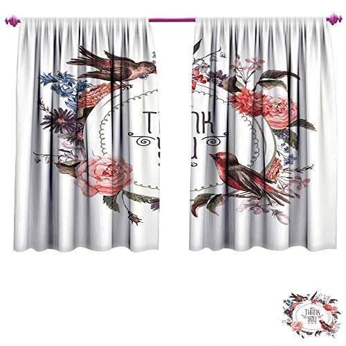 Vintage Window Curtain Drape French Botanical Nature Exotic Birds and Flowers Circle Watercolor Painting Effect Customized Curtains W55 x L72 Multicolor