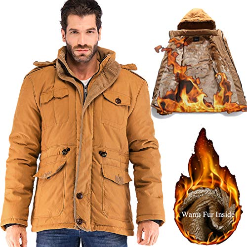 Yozai Mens Winter Jacket Coat with Multi Pockets and Detachable Fur Hood Mustard Yellow Medium