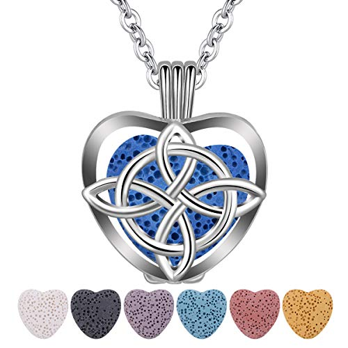CELESTIA Essential Oil Lava Stone Diffuser Necklace, Celtic Knot Heart Aromatherapy Locket Pendant with 7 Reusable Coloured Lava Stones - 24