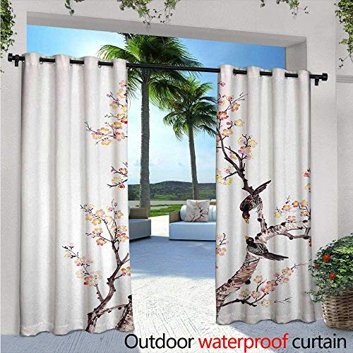 Art Indoor/Outdoor Single Panel Print Window Curtain W72 x L84 Traditional Chinese Paint of Flowers Plum Blossom Birds on Tree Romance Print Silver Grommet Top Drape Pale Yellow Brown