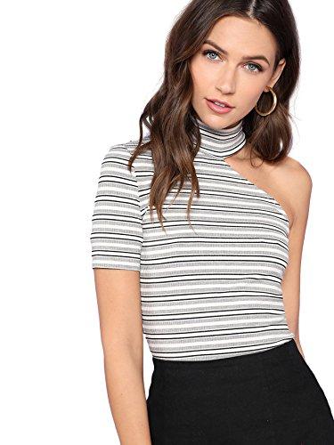 Romwe Women's Sexy One Shoulder Short Sleeve Asymmetrical Neck Tee Shirt Tops Striped Medium